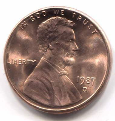 1987 D Uncirculated Lincoln Memorial Penny - One Cent Coin - Denver Mint