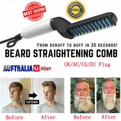 Mens Hair Straightener Hair Styling Comb Curling Electric Brush Beard Styling 3L