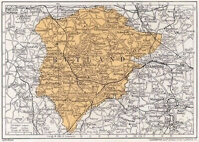 1923 map of England: old county of Rutland antique ready-mounted print SUPERB