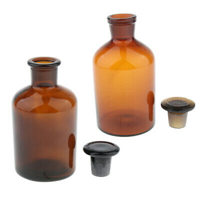 2pcs Amber Glass Liquid Reagent Bottle With Stopper Glassware 250ml & 500ml