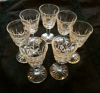 """7 WATERFORD LISMORE 3 1/2"""" Small Liqueur Cocktail Cordial GLASSES EX CONDITION"""
