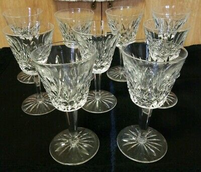 """9 Waterford Crystal Lismore Pattern Claret Wine Goblets, 5 7/8"""" Tall 3"""" Wide"""