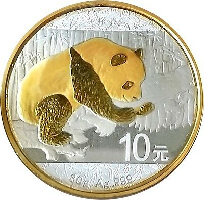 2016 Chinese Panda Coin  24k Gold Gilded  1 oz  .999 pure Silver   NEW