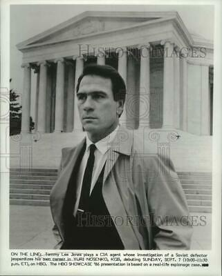1986 Press Photo Tommy Lee Jones Lee Grant And Matt Dillon