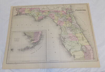 1882 Antique COLOR Map///COUNTY MAP OF FLORIDA, Published by Bradley