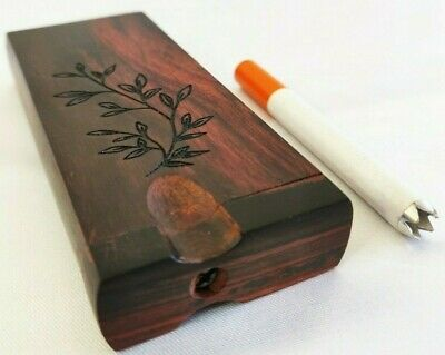 Rosewood Leaf Engraved Dugout One Hitter +2 Spiked Grinder Bat One Hitter Pipes