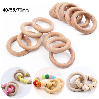 Natural Wooden Baby Teether Ring Wood Teething Rings Craft Round DIY Tooth Care