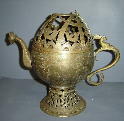 Antique Hindu Islamic Bronze Large Incense Burner Lamp in the Form of a Pitcher.