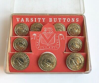 Vintage Set of Gold Coloured Varsity Buttons for Denver University in box