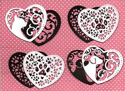16 Spellbinders Cat, Dog & Paw Print Heart Die Cuts -B/ W Topper Pet Silhouette