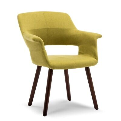 Mid-Century Accent Chair Living Room Modern Padded Armrest w/ Wooden Legs, Green