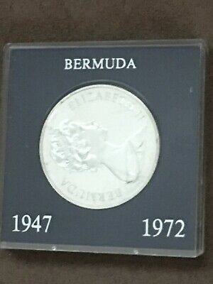 Bermuda Coin 1972 Silver Wedding Elizabeth II One Dollar Sealed in Plastic Case