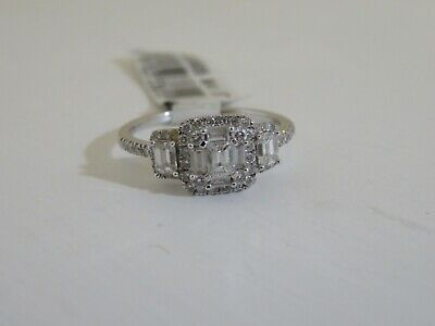6523551e33428 14K WHITE GOLD Emerald Cut Cluster Design 1.00 Cttw Ring Affinity ...