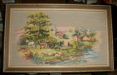 Vintage Framed Petit Point Wool Tapestry Old Farm Scene