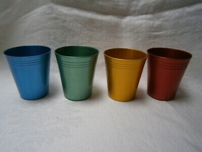 Set Of 4 Retro Anodised Travell Drink Beakers For Car In As New Condition.