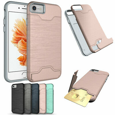 For Apple iPhone 8 7 6s Plus Hard Slim Stand Case with Credit Card Holder Cover