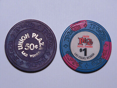 Union Plaza - Las Vegas Nevada - 50 Cent & $1 Casino Chip Lot 1970s