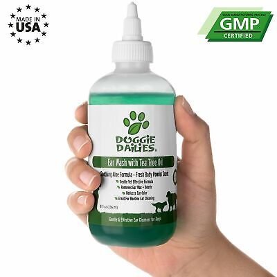 Dog Ear Infection Treatment Drops Wax Cleaner Yeast Infection & Ear Mites 8 Oz