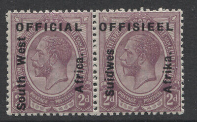 SOUTH WEST AFRICA - 1927 OFFICIAL 2d PAIR MINT(MLH) SG. O3. (REF.A3)