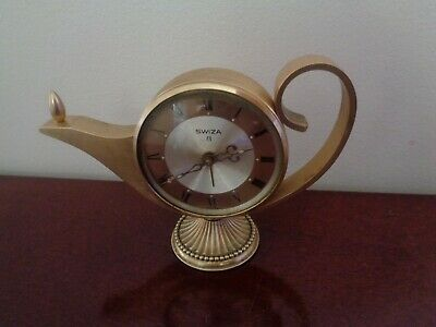 Vintage Swiza 8 Day Genie Lamp Alarm Clock Complete And Working Swiss Made.