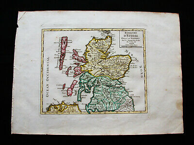 1749 VAUGONDY - orig. map of UNITED KINGDOM, UK, SCOTLAND, GLASGOW, EDINBURGH...