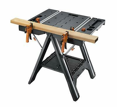 Worx Foldable Work Bench Table And Sawhorse w 2 Quick Clamps Heavy Duty Portable