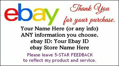 100 Ebay Seller Custom GLOSSY Thank You 2 x 3.5-in. Business Size Cards