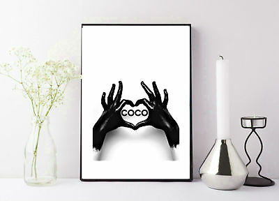 black and white photography og COCO chanel black ink heart shape