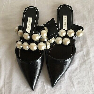 59f028ddd3a New Zara Black Flat Mules With Large Pearl Beads Size Eu 41 Us 10 2540 301