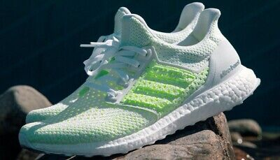17344d9e8 ADIDAS UltraBoost CLIMA White Solar Yellow Running Shoes Men s size 10.5  New!
