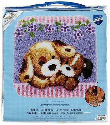 Cuddling Dogs latch hook kit rug making kit 54x62cm printed canvas includes tool