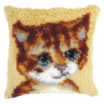 Kitten (Small) Latch Hook Cushion Front Kit. Orchidea, 25x25cm Printed canvas
