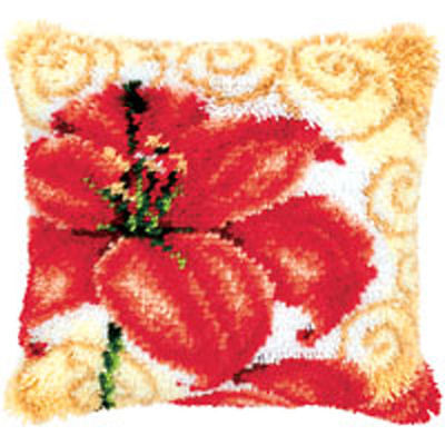 Single Flower Poppy Latch Hook cushion front kit by Vervaco 40x40cm Inc Tool