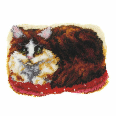 Shaped Cat Latch Hook Rug Making Kit. Orchidea, 47x34cm Printed canvas