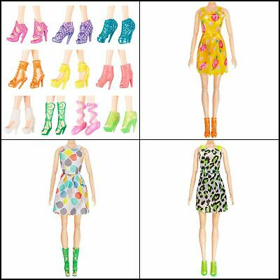 10Pcs Barbie Doll Clothes Party Gown Outfits & 10 Pair Shoes Girls Birthday Gift