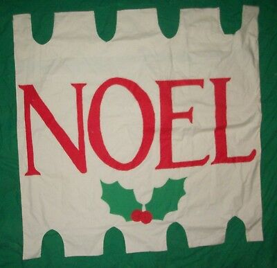Vtg Hand Sewn Noel Flag Big Pennant Merry Christmas Feliz Navidad Folk Art Craft