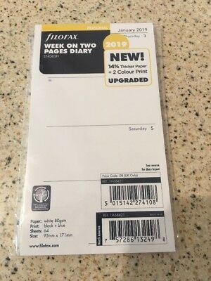 Filofax Personal Size 2019 Diary Week on Two Pages Insert Refill 19-68421.