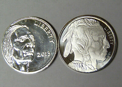 Lot of 2 Different 2013 Buffalo Nickel Design 1 oz .999 Silver Rounds (82718)