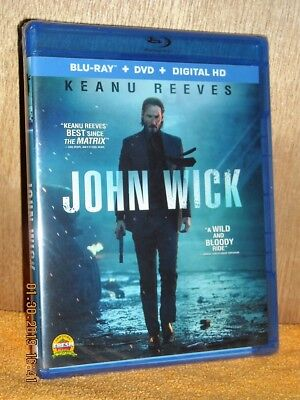 John Wick (Blu-ray/DVD, 2015, 2-Disc Set) Keanu Reeves, Adrianne Palicki NEW