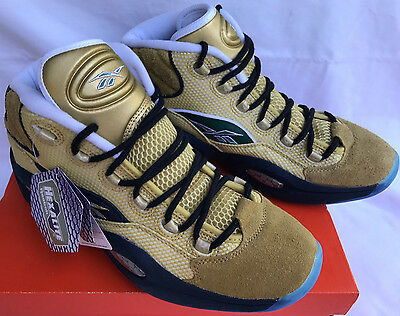 d7af2a9918b9 Reebok Question Mid BD3875 Gold Standing Room Only Basketball Shoes Men s  10.5