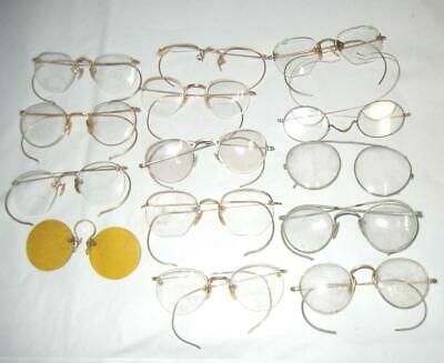 32a72cebfbf LOT OF 15 pair old antique wire rim rimmed glasses eyeglasses