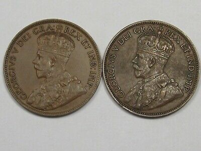 2 XF+ Canadian Large Cent Coins: 1919 & 1920. Full Crown. CANADA.  #21
