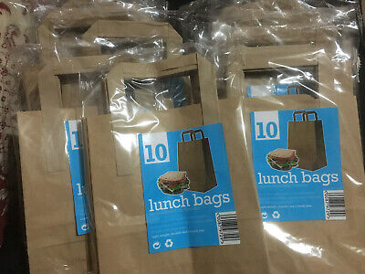 100 x Kraft Paper Lunch Bags Brown with Flat Handles / Takeaway / Gifts