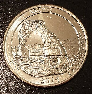 2014-D Arches National Park America the Beautiful Quarter from Mint Roll (6124)