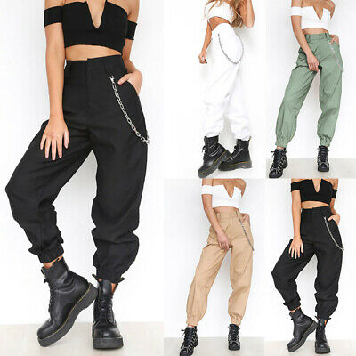 Women Casual Long Plain Solid Tapered High Waist Combat Trousers Cargo Pants