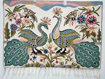 Crewel Stitchery Peacocks & Floral Landscape Theme MINT w/ fringe, wall hanging