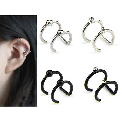 Crystal Non-Piercing Clip On Ear Stud Cuff Wrap Hoop Earrings Cartilage Gift TO