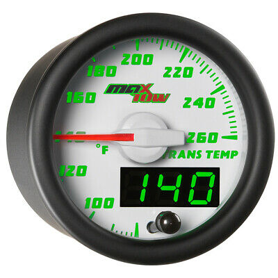 52mm WHITE MAXTOW DOUBLE VISION DIESEL TRANS TEMP DIGITAL + ANALOG GAUGE KIT