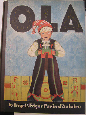 Children's Juvenile Norway Ola Color Lithography D'Aulaire Skiing 1939 Children