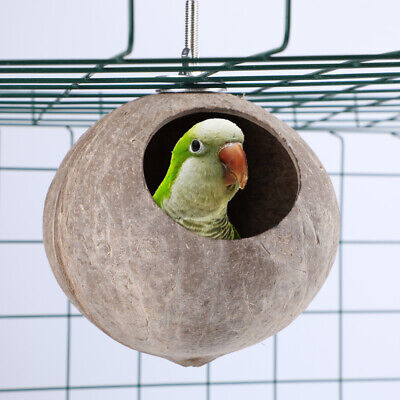 Creative Natural Coconut Shell Bird Nest House Feeder Pet Parrot  Toy